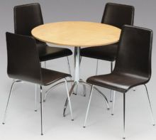 Madison Real Veneer Maple & Black Faux Leather Dining Set